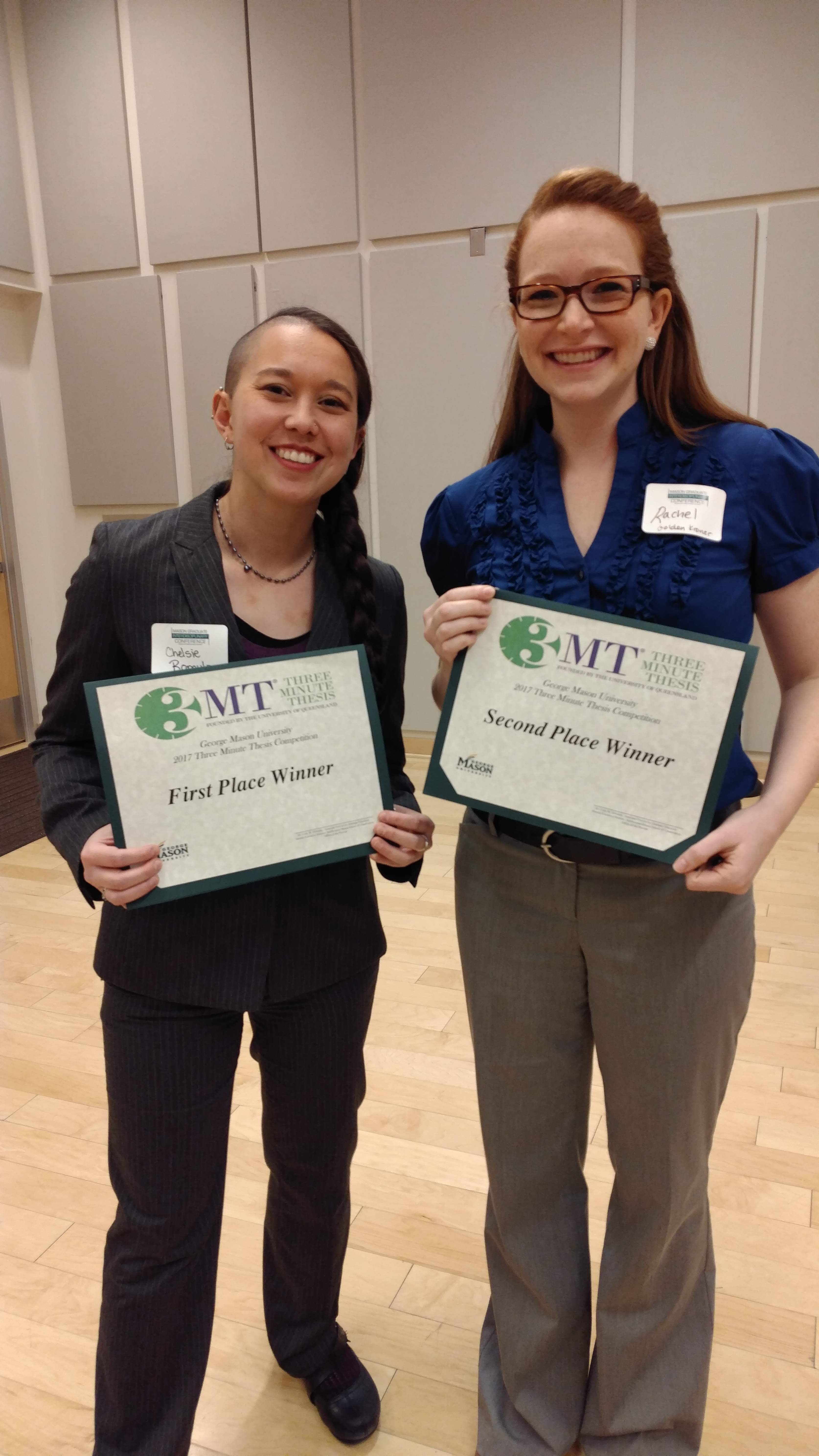 Chelsie and I with our 3MT awards