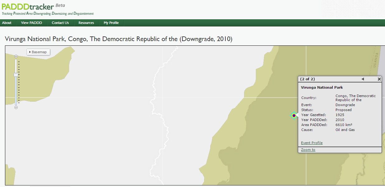 1/2: Event Profile for a downgrade event in Virunga National Park, DRC.   http://www.padddtracker.org/view-paddd/paddd-events/B62175