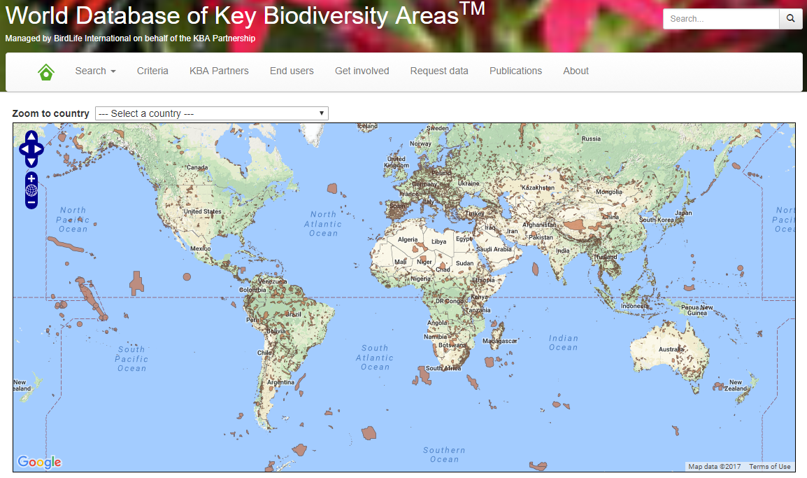 World Database of Key Biodiversity Areas. http://www.keybiodiversityareas.org/site/mapsearch
