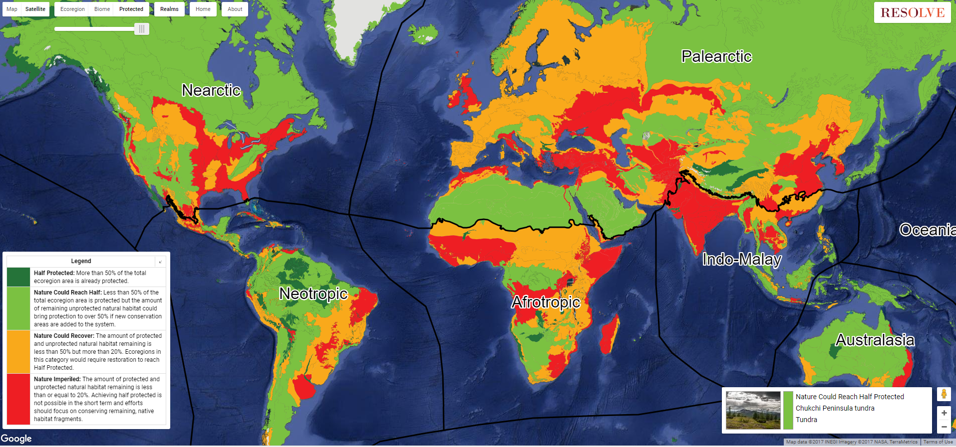 An ecoregion-based approach to tracking progress toward Half Earth. From Resolve. http://ecoregions2017.appspot.com/