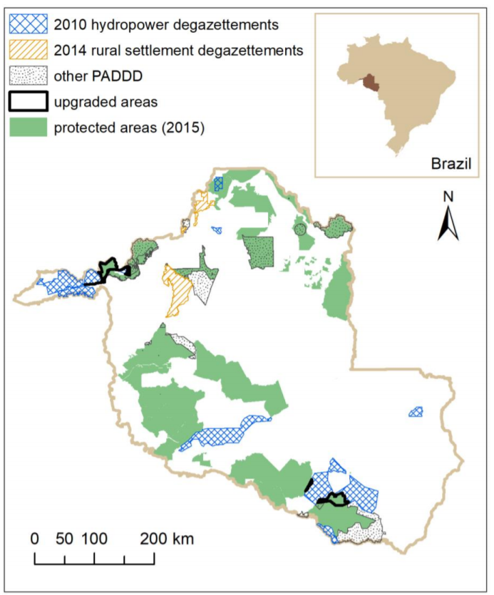 Location of PADDD - protected area downgrading, downsizing, and degazettement - events and offsets in Rondonia, Brazil. Figure from Tesfaw et al. 2018.